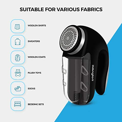 Hillington Fabric Lint Shaver, Battery or Mains Power, Large Shaving Head to Remove Bobbles, Fluff and Leave Clothes and Fabrics Good As New