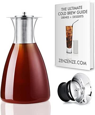 ZENZENZE Large Airtight Cold Coffee Brew Maker 1.6 Quarts (50 oz) - Glass Pitcher Iced Tea Infuser, Brewing Decanter With Removable Stainless Filter. FREE Cold Coffee & Teas Beverages Recipes eBook