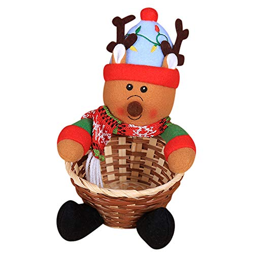 Christmas Candy Storage Basket, Candy Cookies Food Holder Bamboo Basket Home Decoration Storage Basket Santa Claus Christmas Gift Basket (C)