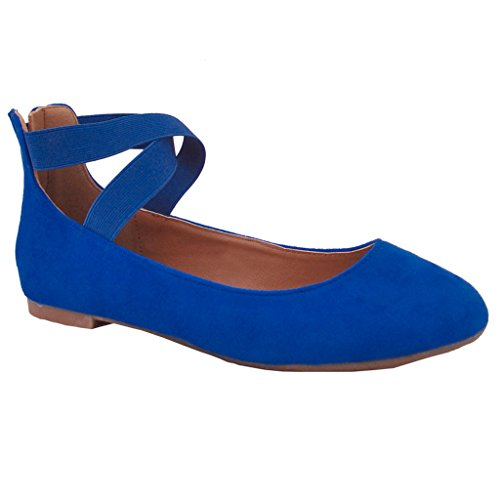 Snj Mujeres Criss Cross Comfort Correa De Tobillo Elástica Y Hebilla Ballet De Punta Redonda Flat Royal Faux Suede Azul