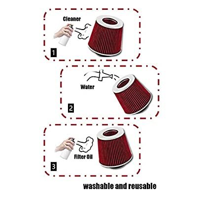 Click2Go Dual Short Ram Air Intake Kit Compatible with Chevrolet 97 98 99 00 Corvette C5 5.7 V8 & Red Filter Combo: Home Improvement