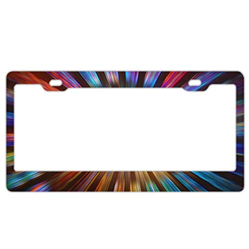 YEX Abstract Spiral Tie Dye Line Pattern License Plate Frame Car Licence Plate Covers Auto Tag Holder 6