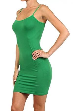 Yelete Nylon Seamless Long Cami Slip Dress (One Size) black) SML601