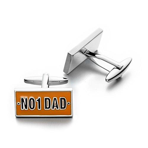Sirius Jewelry Men's Tuxedo Shirt Wedding Business Square Cufflinks (No. 1 (1 Dad Cufflinks)