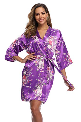 iFigure Women Floral Kimono Robe Satin Bridal Dressing Gown Bride Bridesmaid Robes Sleepwear, Deep Purple, M
