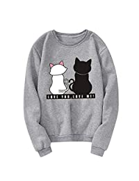 HHmei Unisex Men Women Casual Long Sleeve O-Neck Cat Printed Sweatshirt Pullover
