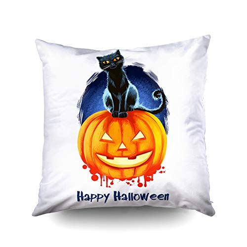KIOAO Mudcloth Pillow Covers Easter Standard Pillow Cases 18X18Inch Soft Square Throw Pillowcase Covers Smiling Pumpkin Candle Inside Black Cat Sitting Background Scary Printed with Both Sides ()