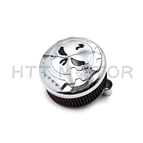 HTTMT- Replacement of Chrome Skull with Black Eyes Air Cleaner Intake Filter System Kit For Harley Davidson 2007-later XL Sportster 1200 Nightster 883 XL883 Low XL1200L Seventy Two Forty ()