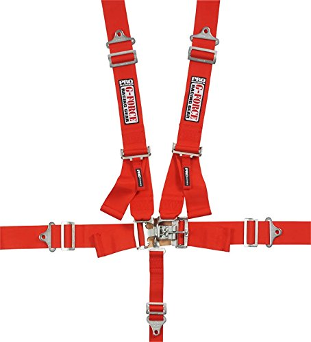 G-Force 6000RD 5-Point Pull-Down Latch and Link Individual Shoulder Harness Set, Red ()