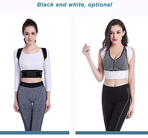 調節可能な姿勢補正バック、男性用肩腰椎サポートブレース姿勢補正、女性と子供、光と通気性、8ワードショルダーストラップ(ブラック、ホワイト) (Color : White, Size : S)