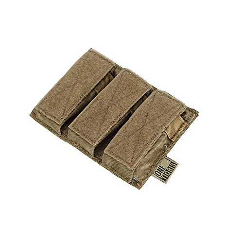 OneTigris Single/Double/Triple Pistol Mag Pouch with Front Loop Panel for Glock M1911 92F Magazines 40mm Grenade (Triple-Stack, Coyote ()