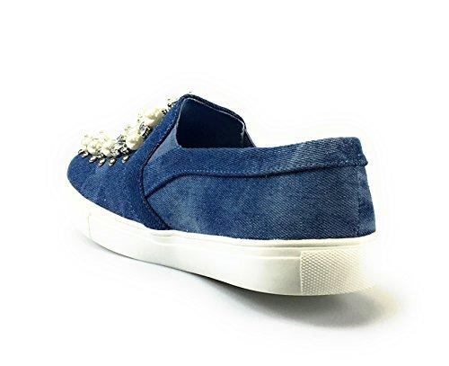 shoe Jubilee Demin espadrilles Flat Rhinestone Toe Pearl moccasin Round Womens T7rq8Tzwv