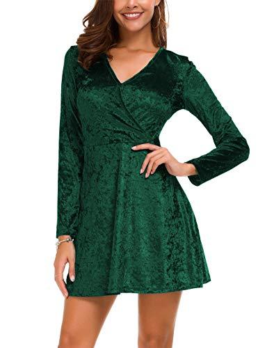 (DGMYG Women's Elegant Long Sleeve V-Neck Velvet Flared A line Party Mini Dress M)