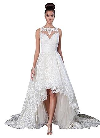 D.W.U Sheer Lace High low Wedding Dresses Hi-lo Bridal Ball Gown at ...