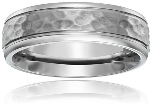 Titanium 7mm Comfort Fit Wedding Band with Hammered Center and High Polish Edges, Size - Hammered Wedding Fit Band Comfort
