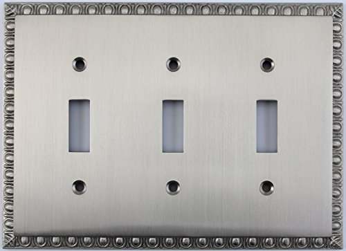 Dart Plate (Egg & Dart Satin Nickel Three Gang Toggle Light Switch Plate)