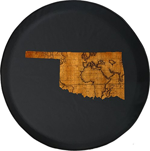 556 Gear Oklahoma - Old World Travel Map Jeep RV Spare Tire Cover Black 32 in