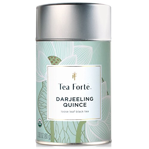 Tea Forte Lotus DARJEELING QUINCE Organic Loose Leaf Black Tea, 2.82 Ounce Tea Tin