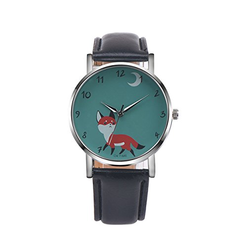 Womens Quartz Watches COOKI Clearance Fox Female Watches on Sale Comfortable Leather Lady Watches-H76 (Black)