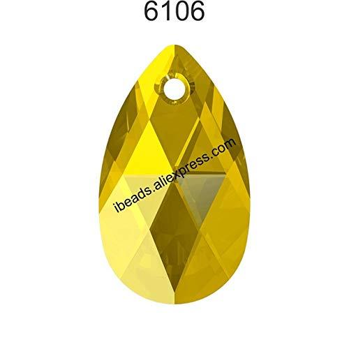 (Pukido (1 Piece) 100% Original Crystal from Swarovski 6106 Pear-Shaped Pendant from Austria Loose Beads Rhinestone DIY Jewelry Making - (Color: Light Topaz 226, Item Diameter: 38mm))