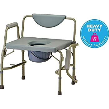Image of Health and Household NOVA Heavy Duty Bedside Commode Chair with Drop-Arm (for Easy Transfer) 500 lb. Weight Capacity, Extra Wide & Bariatric Commode Chair