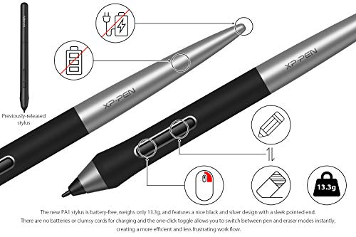 XP-PEN Deco Pro Medium Graphics Drawing Tablet Ultrathin Digital Pen Tablet with Tilt Function Double Wheel and 8 Shortcut Keys 8192 Levels Pressure 11x6 Inch Working Area