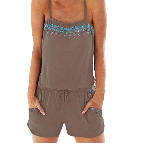 String 1 Cam (Women Summer Casual Spaghetti Strap Adjustable Waist Drawstring Short Jumpsuit Solid Cami Romper (XL, Coffee))