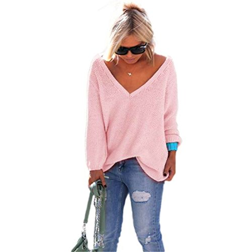 HANYI Women Long Sleeve Knitted Pullover Loose V neck Sweater (One Size, Pink)