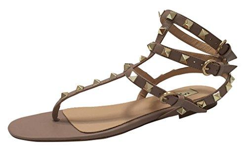 Studded Flat Sandals - Kaitlyn Pan Studded T-Strap Flat Sandal