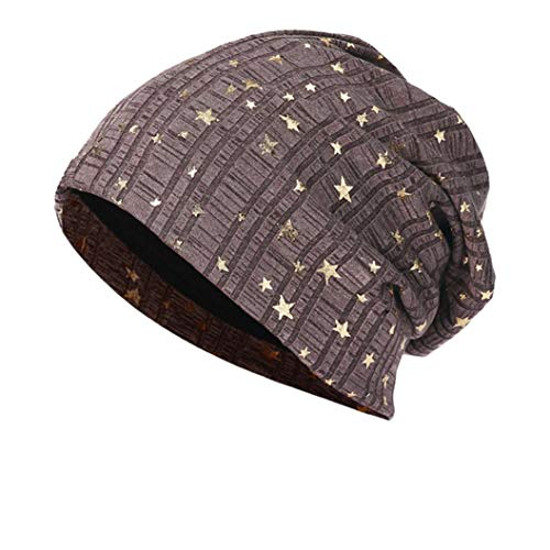 Sunny&Love 2018 New Unisex Star Pattern Warm Crochet Winter Knit Ski Beanie Skull Slouchy Caps Hat (Khaki) ()