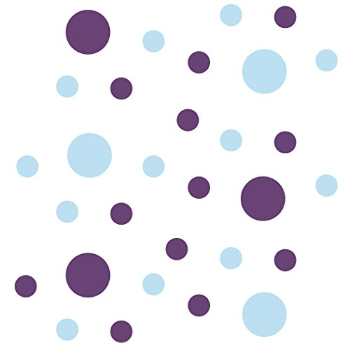 Set of 30 - Circles Polka Dots Vinyl Wall Graphic Decals Stickers (Baby Blue/Purple)