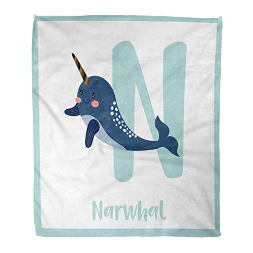 Emvency Throw Blanket Warm Cozy Print Flannel Cute Children ABC Animal Alphabet N Letter Flashcard of Dark Blue Narwhal Comfortable Soft for Bed Sofa and Couch 50x60 Inches