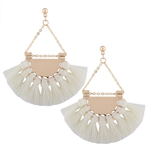 Tassel Shaped (Elogoog Women Fan-shaped Stud Eardrop Elegant Bohemian Long Tassel Fringe Dangle Earrings 1 Pair (White))