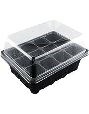 12 cuadrículas Germinación de Plantas Juego de bandejas de Inicio de Semillas de jardín con cúpula Transparente para Plantas de semillero, jardinería Interior y Exterior - Suelo o hidropónico