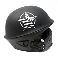 MMG Motorcycle Helmet VADER - Matte Black STAR - Street Open Face DOT Approved - Large by MMG