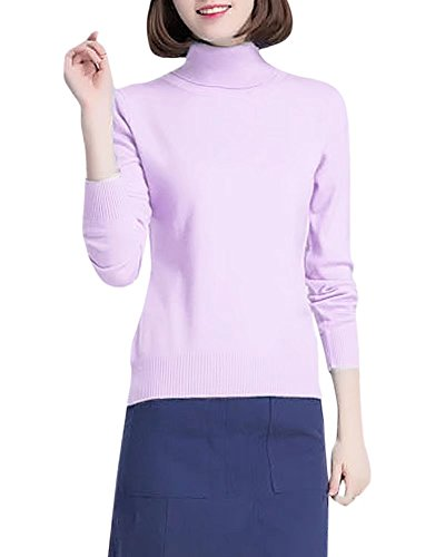 Cashmere Turtleneck Slim Fit Knitted Basic Bottoming Pullover Jumper Sweater, Lilac US 10 = Tag 2XL (Cashmere Petite Turtleneck)