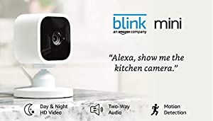 Introducing Blink Mini – Compact indoor plug-in smart security camera, 1080 HD video, motion detection, Works with Alexa – 1 camera (Color: WHITE)
