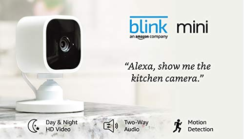 Blink Mini – Compact indoor plug-in smart security camera, 1080 HD video, motion detection, night vision, Works with Alexa – 1 camera