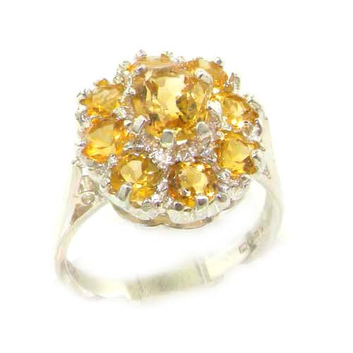 - 925 Sterling Silver Real Genuine Citrine Womens Cluster Engagement Ring - Size 6