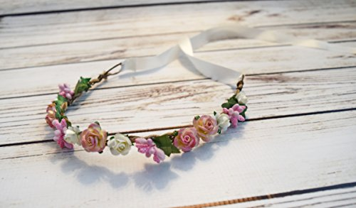 Handcrafted Pink Ivory Cream Rose Flower Crown - Spring Flower Crown - Renaissance Flower Halo - Woodland Halo - Flower Girl Halo - Pink Wedding Accessory