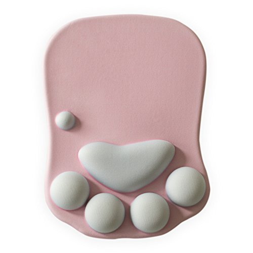 Cat Paw Mouse Pad with Wrist Support Soft Silicone Wrist Rests Wrist Cushion Comfort Mouse Pad Computer Mouse Mat Desk Decor Pink(10.7x7.8x0.9'') (Pink)