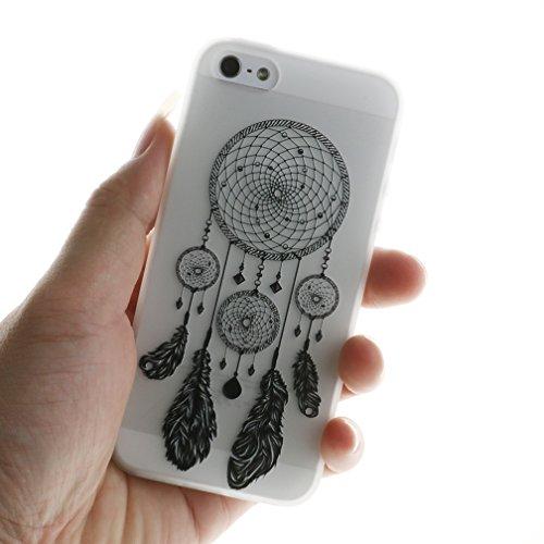 Funda iPhone 5/5S/SE,XiaoXiMi Carcasa de Silicona TPU Suave y Esmerilada Funda Ligero Delgado Carcasa Anti Choque Durable Caja de Diseño Creativo - Unicornio Campanas de Viento