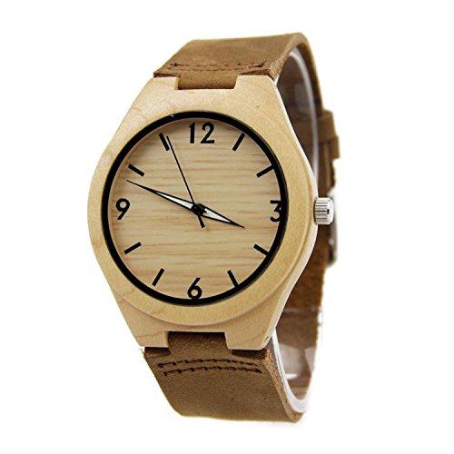 Biao&MZ La nueva madera relojes Unisex natural madera bambú par de reloj correa de cuero regalo usable accesorios , brown