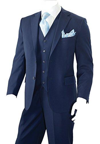 Men's 3 Piece Solid 2 Button Regular Fit Suit (Navy) (40L) (40l Mens 3 Piece Suit)