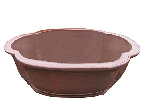 Carving-painting Red-brown Purple Clay Water-caltrop-flower Round-basin-flange Type Floor Flowerpot by Sungao