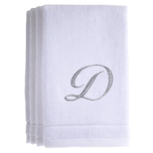 Monogrammed Towels Fingertip  Personalized Gift  11 x 18 Inches   Set of 4  Silver Embroidered Towel   Extra Absorbent 100  Cotton  Soft Velour Finish   For. Nautical Bath Towels  Amazon com