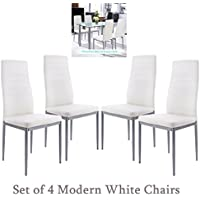 Fashine 4pcs White Modern Dining Chairs High Back for Home Kitchen Restaurant Conference Room with PVC Padded Seat & Iron Feet (US STORAGE)