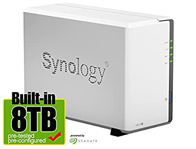 Synology DS216J 8-Terabyte (8TB) 2-Bay Gigabit iSCSI NAS Server for Small Office & Home (Built-in Seagate 4TB NAS Hard Drives x 2) - Retail - 2 Year Warranty