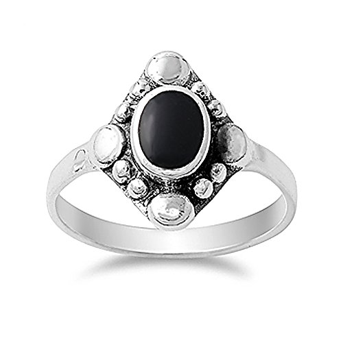 Sterling Silver Simulated Black Onyx Vintage Style Ladies Ring 15mm ( Size 4 to 10 ) -