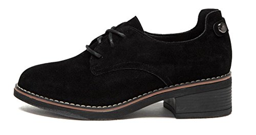 Leather up Oxford Ankle Women's by Shoes Heel Lace Shoes Suede suede Black Dress JiYe wXS0Uq